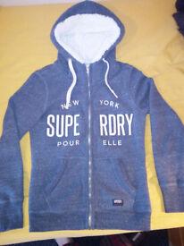 Superdry Zip Hoodie with Lined Hood (Light Blue)