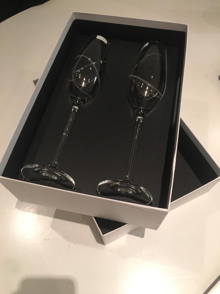 Wedding Gift - Royal Doulton Fine Crystal Champagne Flutes
