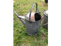 Vintage Galvanised Watering Can Garden Feature