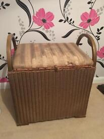 Lloyd loom gold small rattan linen basket box