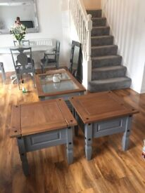 Grey with oak top side tables / end tables lamp tables. Solid wood.