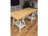 Desk table with trestle legs