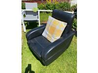 Contemporary 3 seater leather sofa,rotating chair and matching foot stool