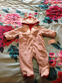 Fluffy Reindeer Christmas Babygrow 3-6months, Brand New With Tags, Never Used