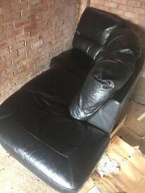 Sofa black leather in L shape
