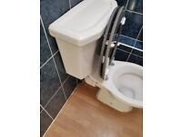 ~~## Twyford traditional ceramic toilet with gray wooden seat ##~~