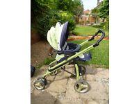 Bebecar pushchair, cot and car seat green
