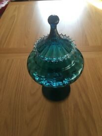 Turquoise Glass Pot Pourri Vase.