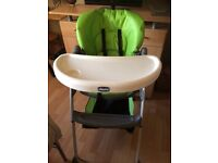 almost new Chico high chair with adjustable back positions cost £50 Will accept £25