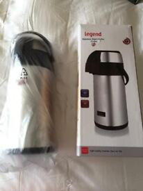 5L Catering Pump Action Airport Vacuum Flask Thermos Steel inside & out Hot & Cold drinks