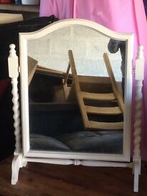 Wooden white painted dressing table mirror