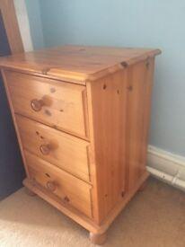 3drawer varnished pine bedside unit