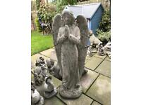Very large stone garden angel statue, lovely Detail.