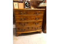 20th century yellow bow front chest of drawers