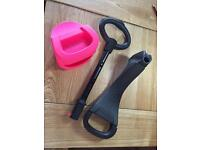 Mini micro scooter handle, seat and pink pouch