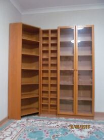 IKEA Bookcase Billy with glass doors, 2 CD or DVD shelving units and corner element.all set only100£