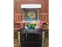 90 litre fish tank and black glass stand