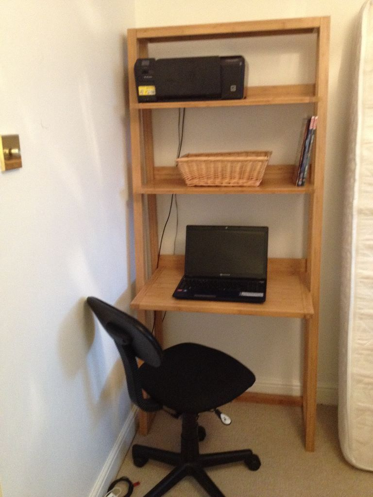 Desk M S Sapporo Tall Made From Bamboo With 3 Shelves Ideal As A Laptop