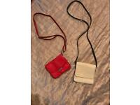 Red Lorenz bag and beige hand bag