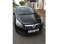 1.4 Black Vauxhall Corsa for sale! 07 plate, full service history, 12 months M.O.T