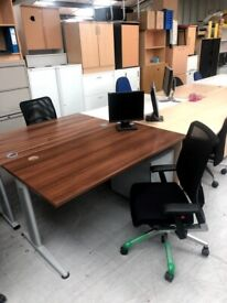 Walnut desk with metal pedestal set 150 x 80