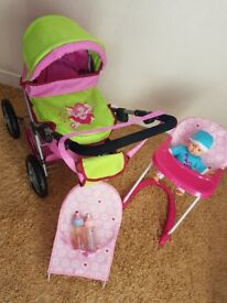 GIRLS PINK BUYERS PRAM,BOUNCY CHAIR,HIGHCHAIR,BABY DOLL AND BOTTLES