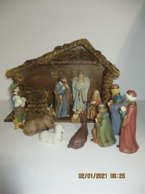 11 Pc Porcelain Nativity Scene Set W/Wood Stable/Manger By Midwest Imports
