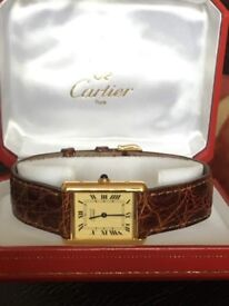 Cartier Tank vermeil watch