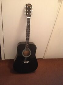 Squier SA-105 Black Acoustic Guitar - Includes Bag, Hanger and Additional Strings Set