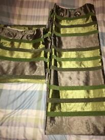 Fully lined green & brown NEXT curtains