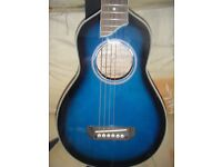 ACOUSTIC TRAVEL GUITAR & STRAP & GIG BAG-EX COND-IMPROVEMENTS MADE -POSTAGE/OFFERS CONSIDERED