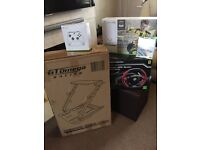 XBox One S, 2 Controllers, Ferrari Wheel, Racing Wheel Stand and 2 games all unopened and brand new
