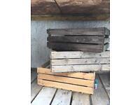 3 vintage wooden crates, boxes.