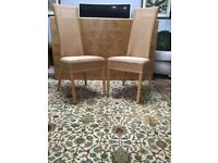Pair of Lloyd Loom High Back Dining Chairs - Natural Colour