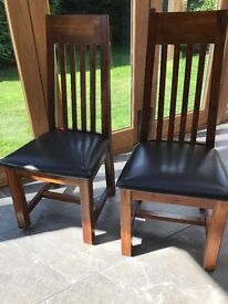 Solid Walnut with leather seat chairs (x2)