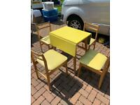 Vintage 1960s Formica kitchen table & 4 chairs canary yellow