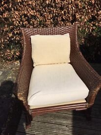 Chair in woven rattan and soft cushions - individual design