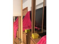 5 x nearly full length wardrobe doors with mirrors and hinges