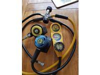 DIVING regulators and depth gauge set
