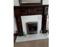 Mahogany fire surround with marble insert and hearth