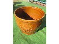 Small Vintage Light Brown Ceramic Plant Pot