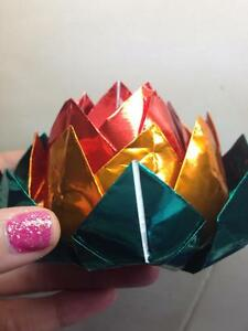 Sparkle tri colour lotus with tealight/plastic flameless candle