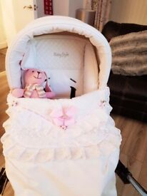 Baby style prestige white pram and travel system and accessories