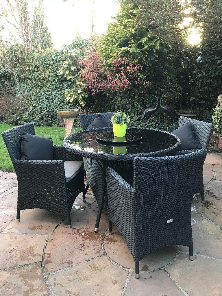 4 Seat Round Black Rattan Garden Furniture Set
