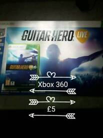 XBOX 360 GUITAR HERO GAME IN BOX WITH GUITAR HARDLY USED IN GREAT CONDITION
