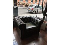 CHESTERFIELD CLUB CHAIR Vintage green real leather