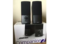 Bose Companion 2 Speakers - Black, Perfect condition 1 year old - Used twice