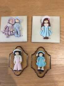 Hand sculpted miniature doll plaques to hang - 2 sets of 2