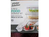 5 piece glass food storage set
