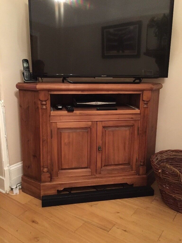 Stained Pine Corner TV Unit